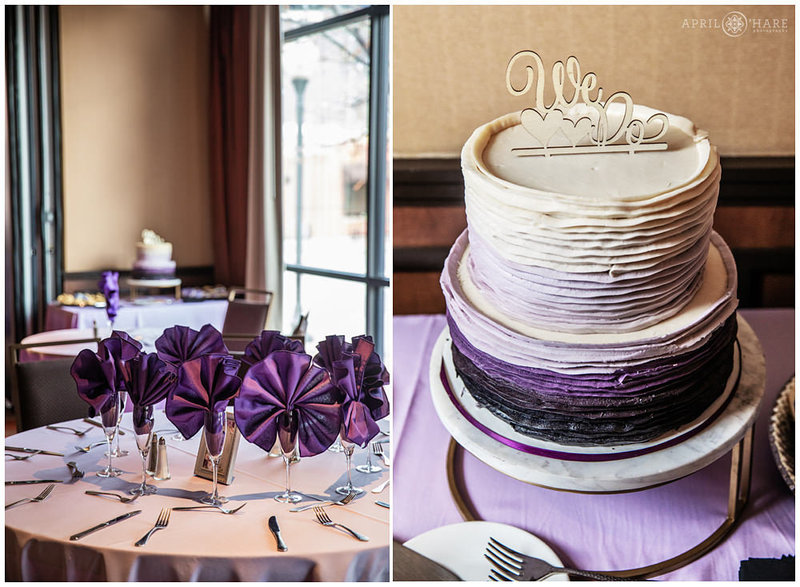 A purple wedding at The Golden Hotel in the Golden Vista Ballroom in CO