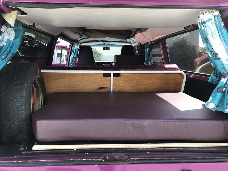 View from back door of sleeping area of Pippi, purple retro kombi van from NZ Kombi Hire