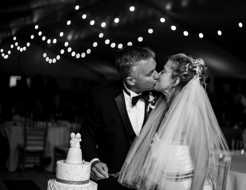 Bride and grom kiss before cutting the cake at their wedding reception at Anchor Plaza in Erie PA