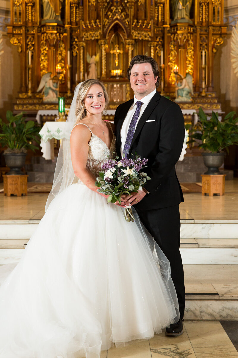bride and groom portrait at st. john cantius church