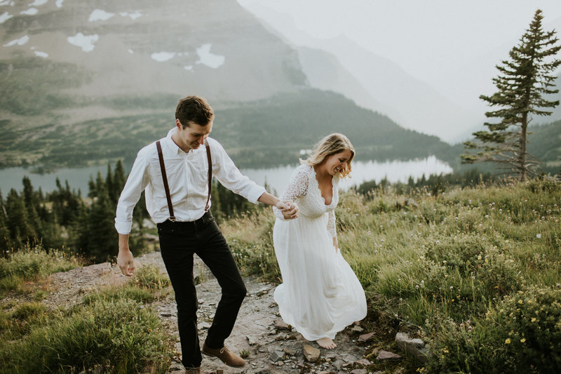 Glacier National Park MT Elopement Couple Holding Hands