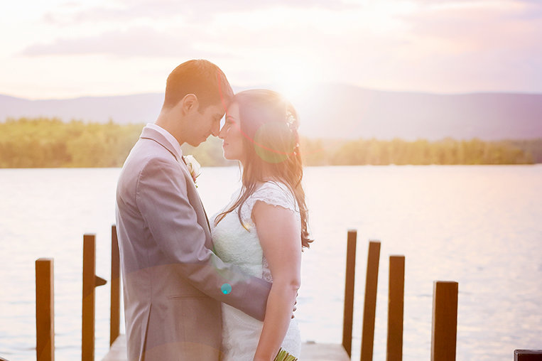 bride and groom on Lake Winnipesaukee wedding - Boston wedding photographers