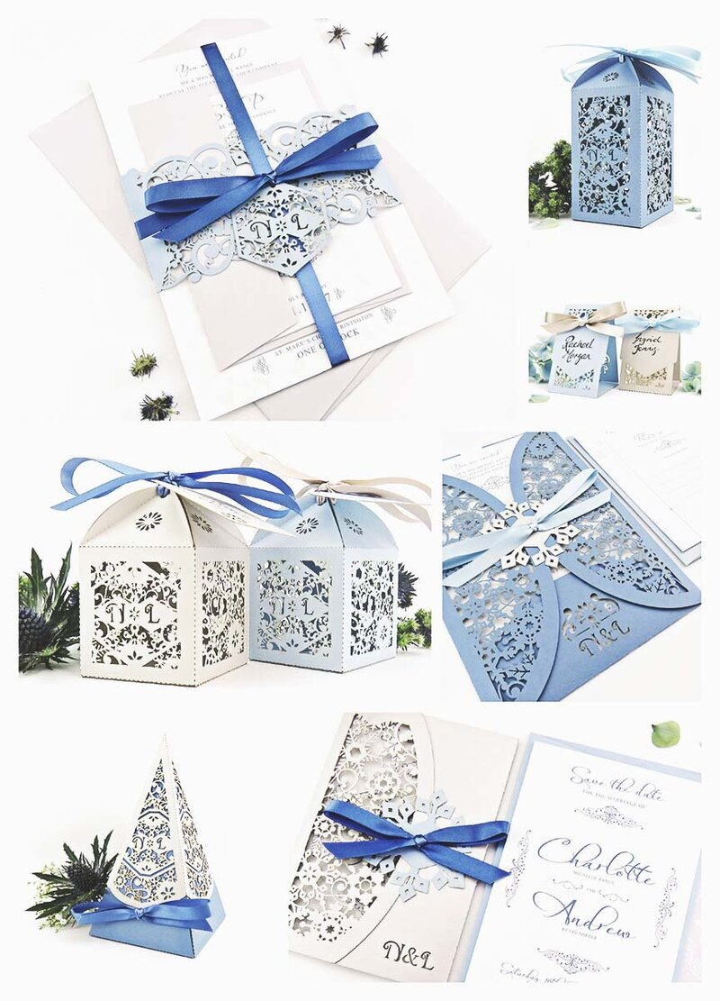 Winter wedding mood board for a Christmas bride. Silver and blue colour scheme and snow flake design invitations.