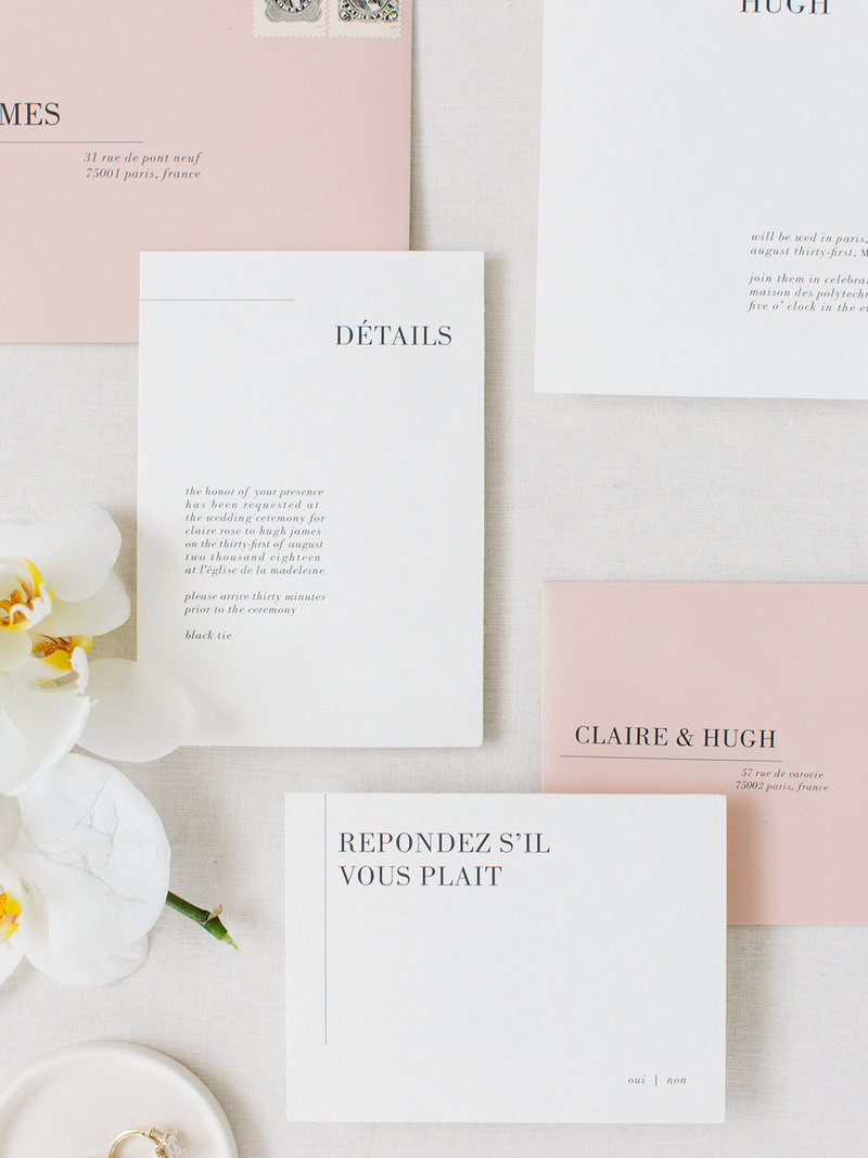 This is a minimalist wedding invitation suite with a chic parisian feel