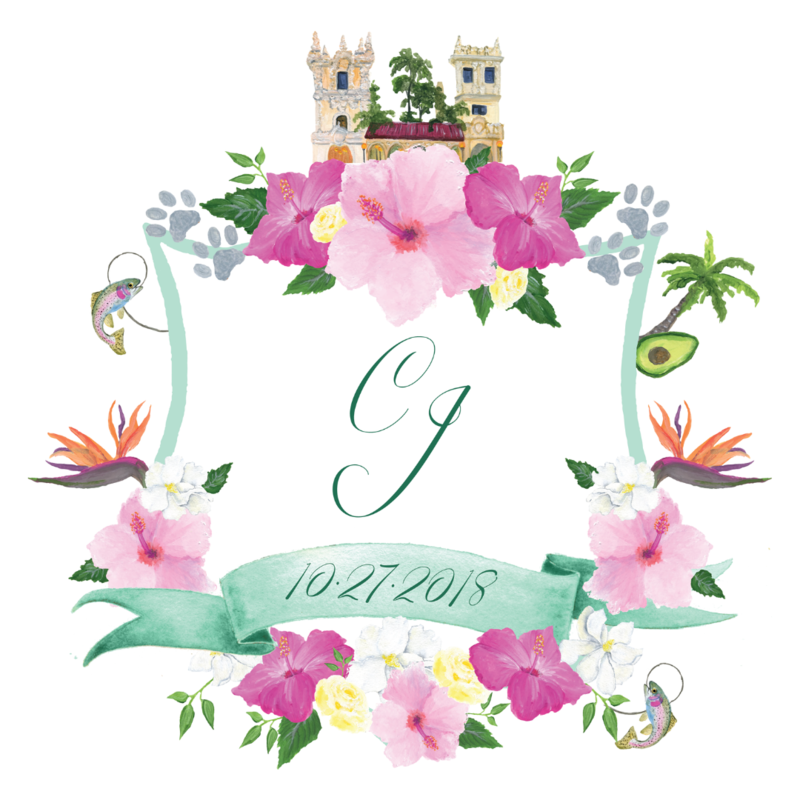 Custom California wedding crest with tropical flowers and Balboa Park venue painting