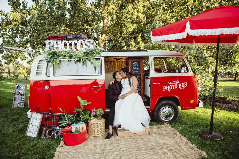 bride and groom in the little photo bus of Portland, Oregon