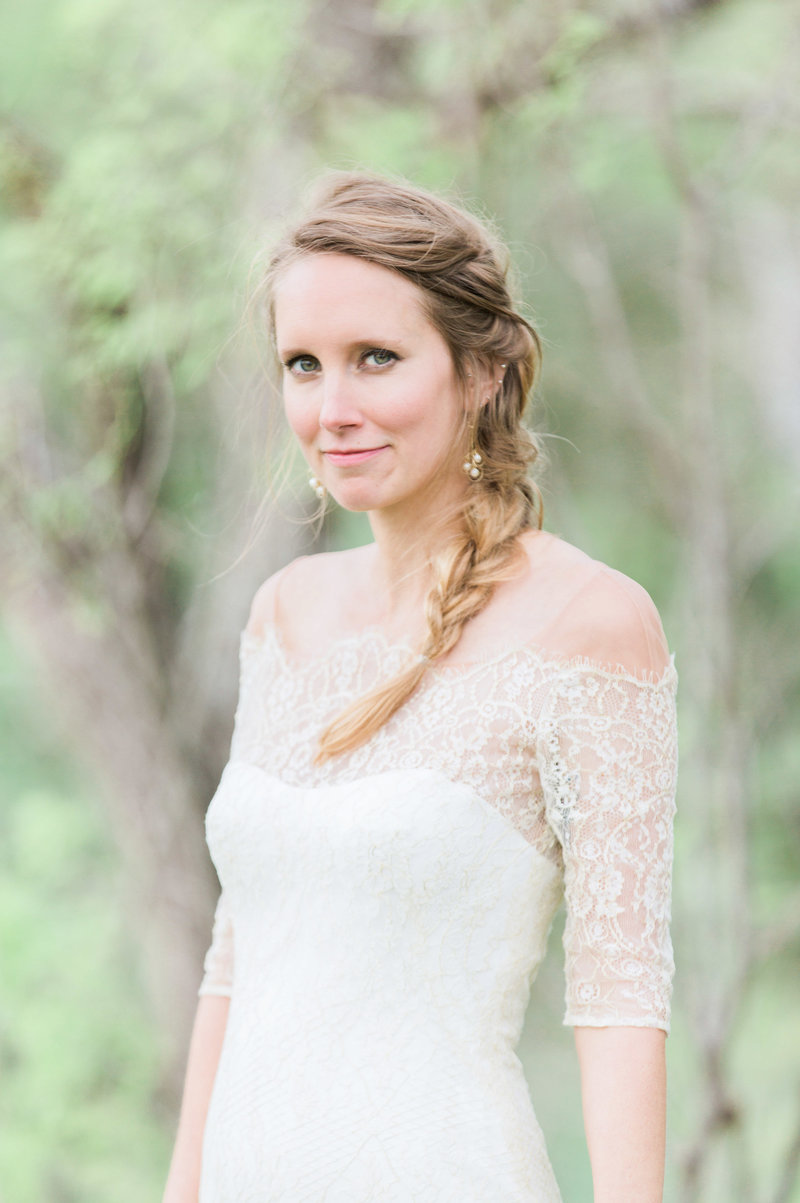 bridal portrait with vintage dress