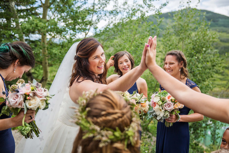 Fun candid wedding photo from Mountain Wedding Garden in Crested Butte
