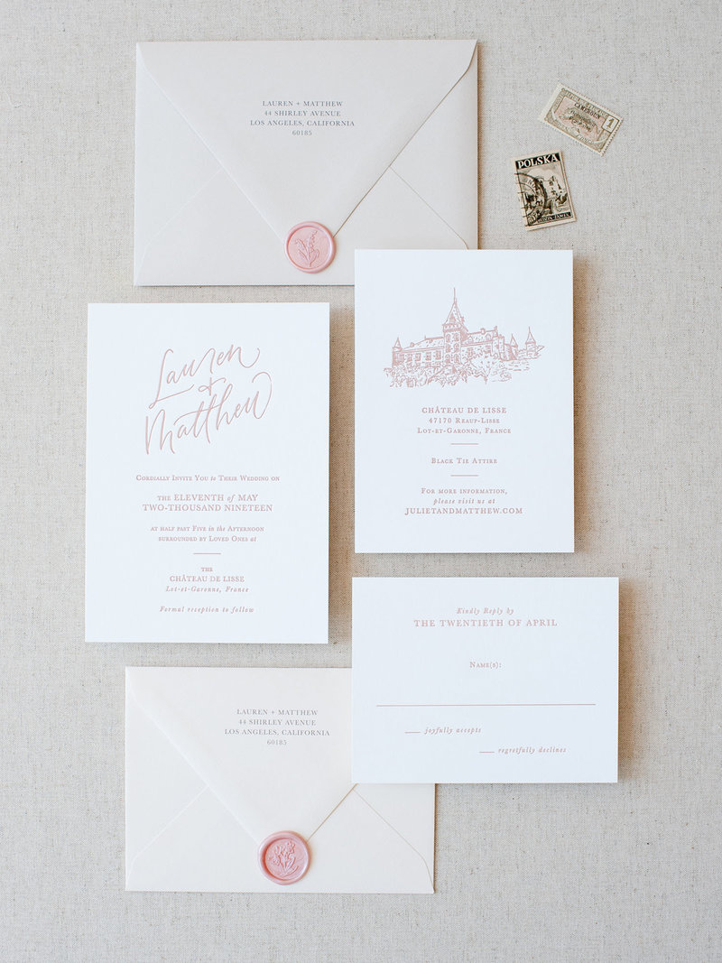 Semi-Custom Invitations - Simple Elegance Collection with Details Card with Custom Illustration