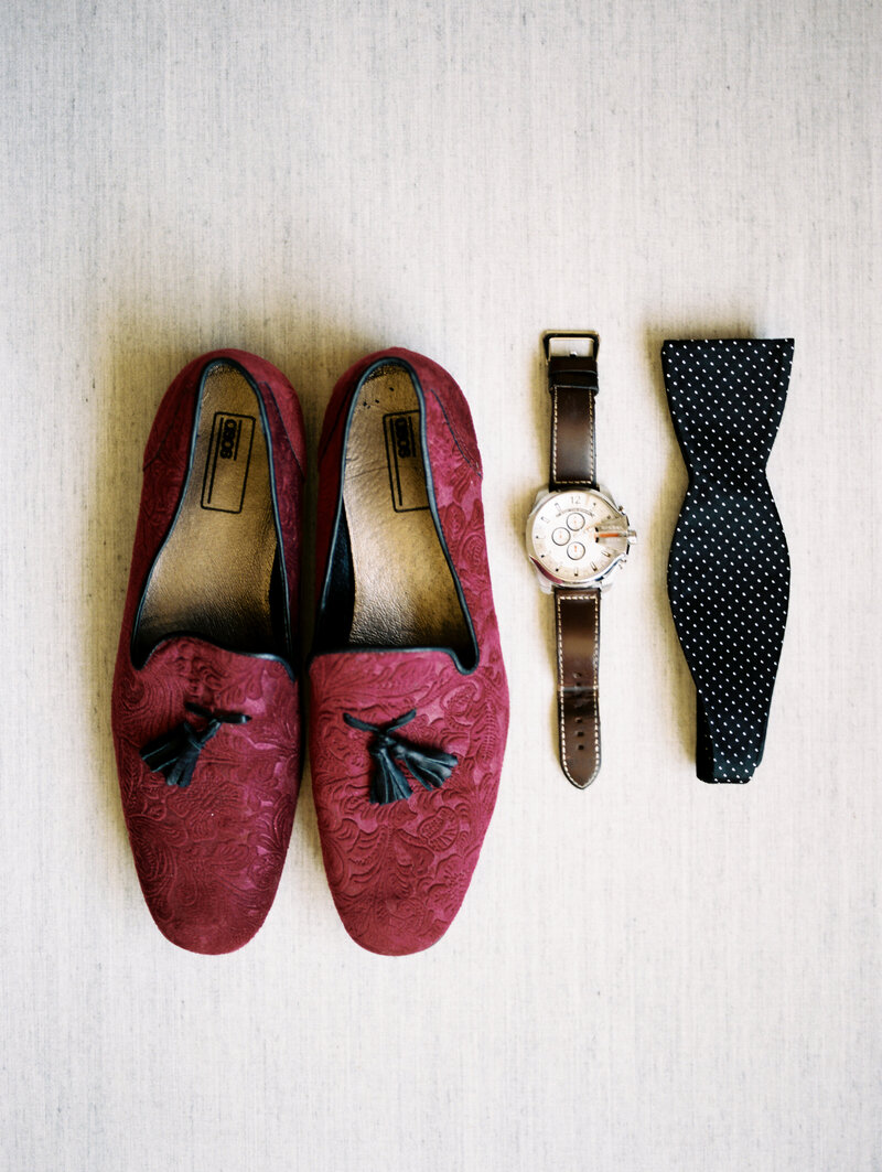 Groom's Details, Watch, Shoes, and Bowtie