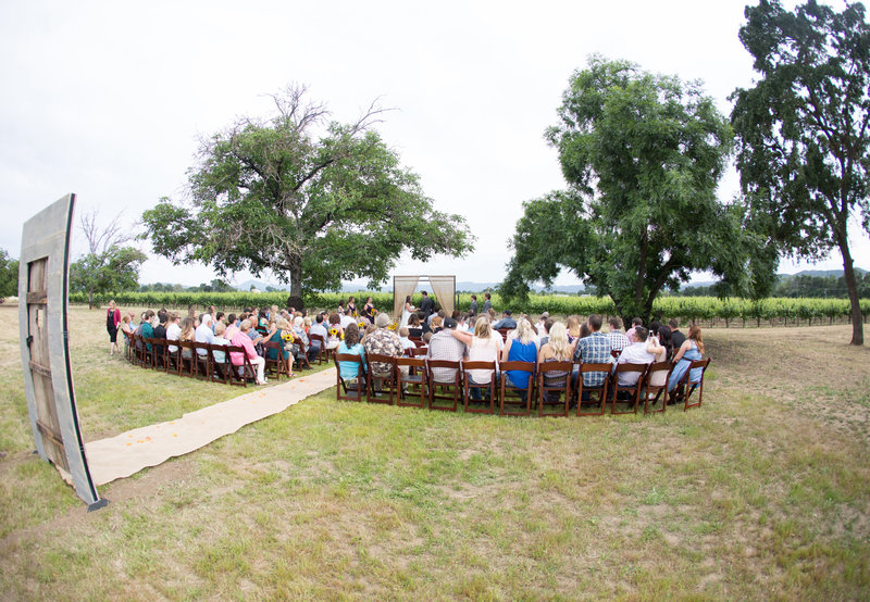 ceremony between the oaks, wine country ceremony