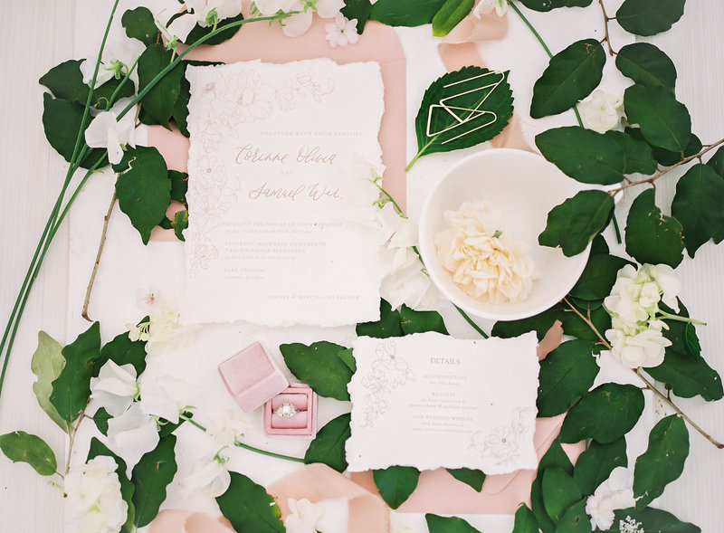 raw edge blush invitation suite
