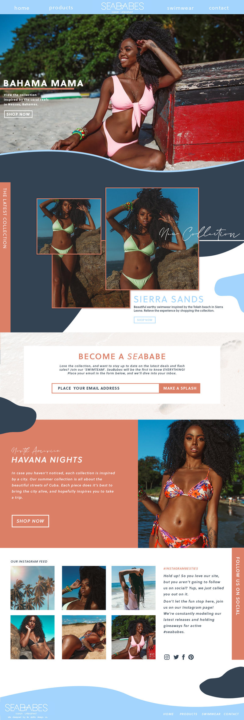 Website mockup done for SeaBabes. Web design created by Ile Alafia Design Co.