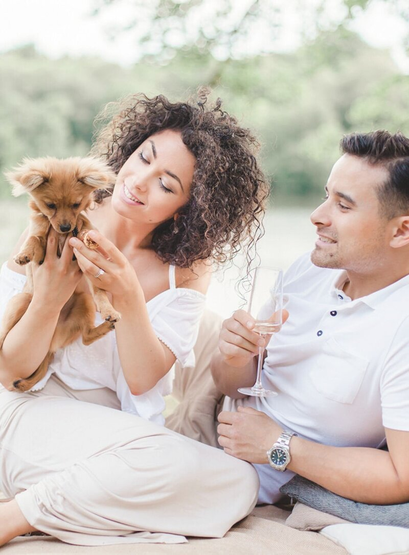Romantic Engagement session with a picnic in the park
