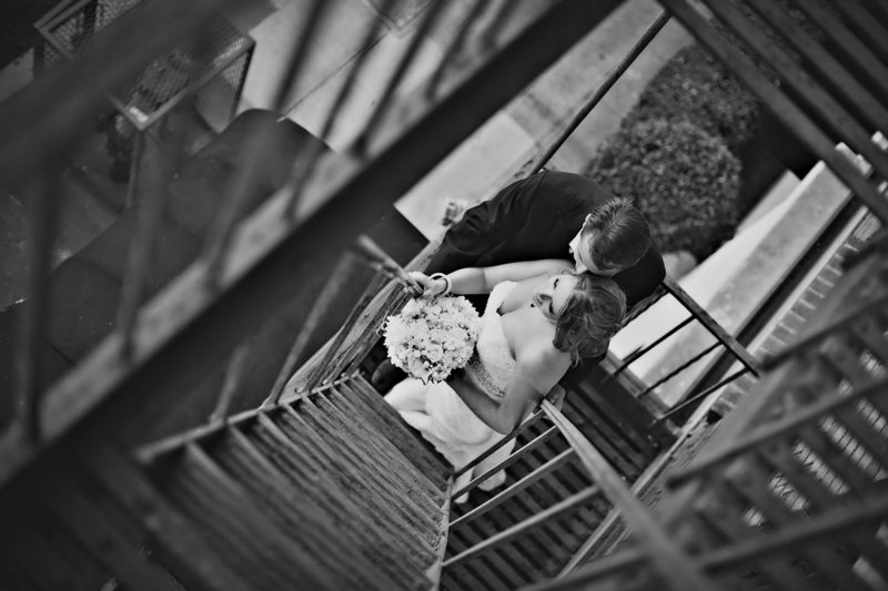 San Diego wedding photos urban stairs black and white