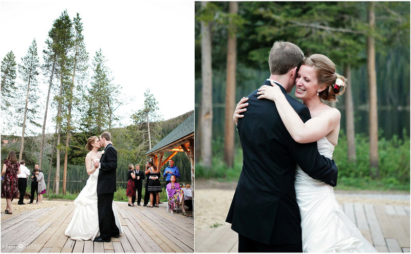 Bride and groom dance outdoors on the deck at Piney River Ranch in Vail, Colorado