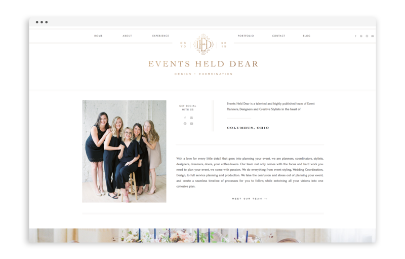 Events Held Dear - Custom Brand and Showit Web Design by With Grace and Gold - Branding and Web Design for Wedding andn Event Planners - 4