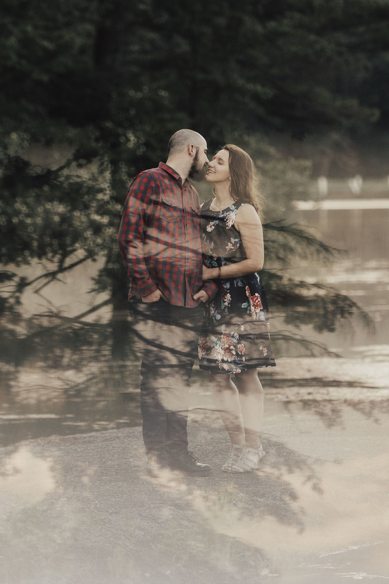 Double exposure of couple in woods