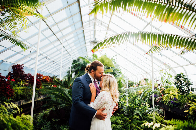 Seattle Elopement photos taken at Volunteer Park Conservatory by local Seattle Elopement Photographer, Rebecca Anne.