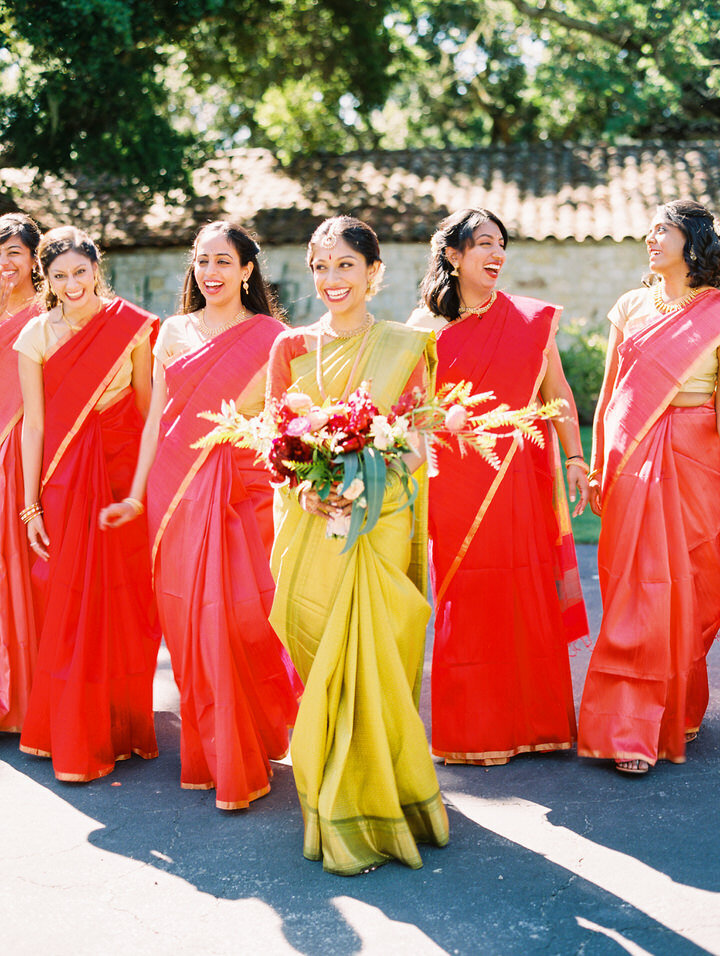 red sari for hindu wedding bridal party