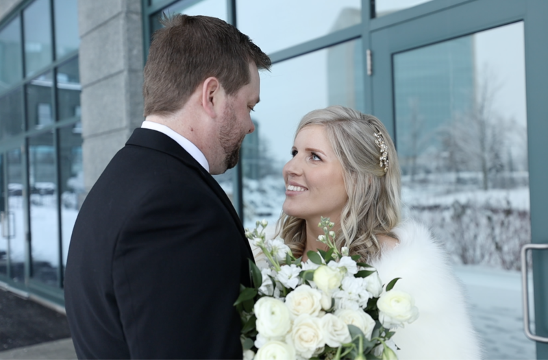 Conie and Eric Wedding outside brookstreet hotel in kanata ontario