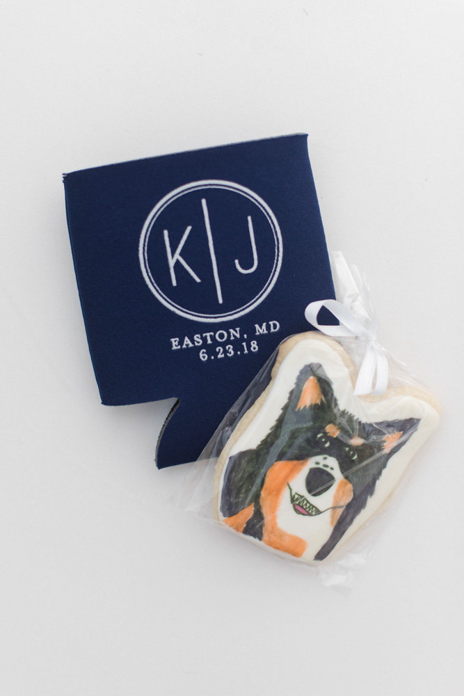 dog cookies and koozie at eastern shore wedding at kirkland manor by costola photography