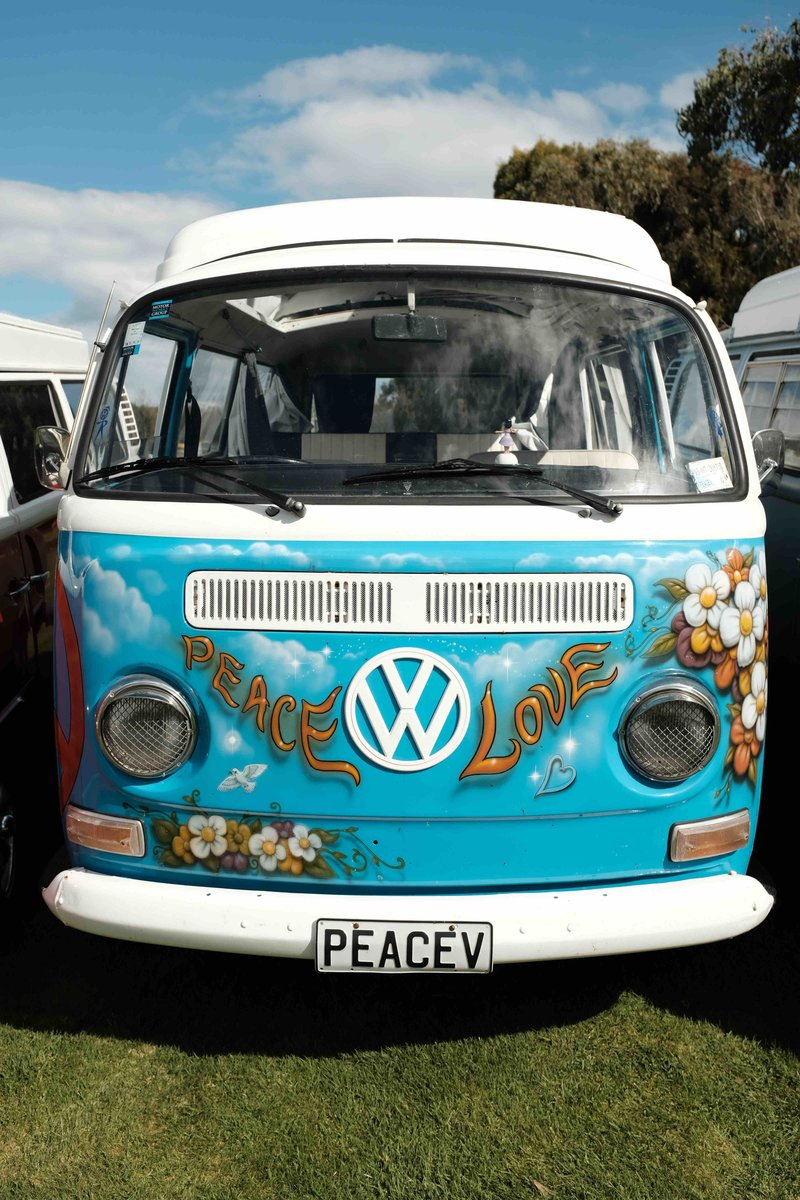 Front view of Nessa, kombi camper van from NZ Kombi Hire, Invercargill, New Zealand