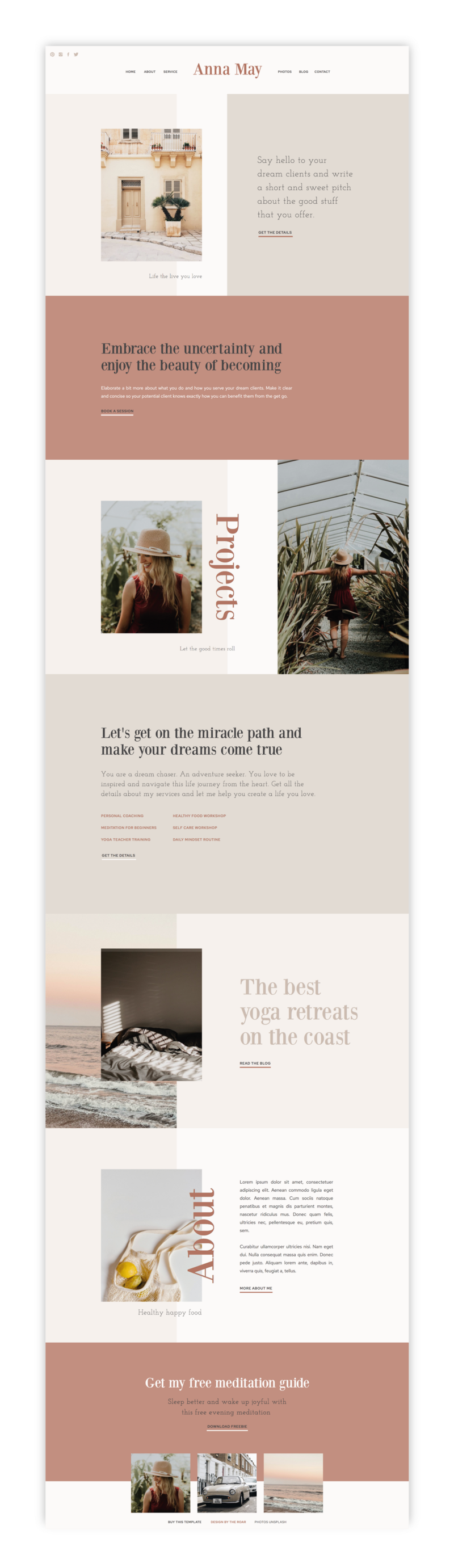 The Roar Showit Web Design Website Template Creative Business Layout Anna May