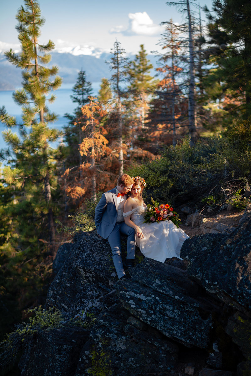 Lake, forest, snow capped mountains - Lake Tahoe has it all when it comes to adventurous elopement locations!