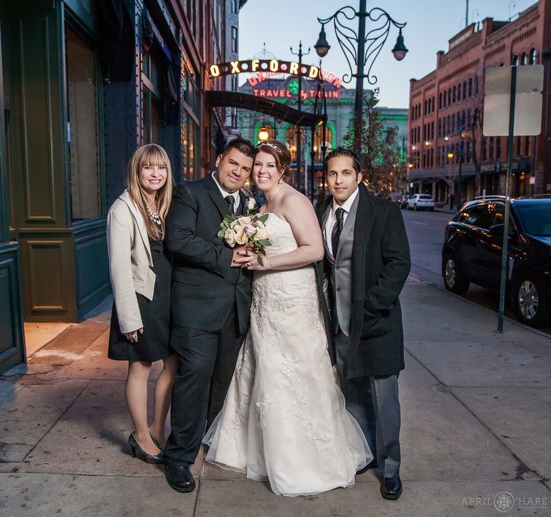 Oxford Hotel Wedding Portrait with Union Station Backdrop