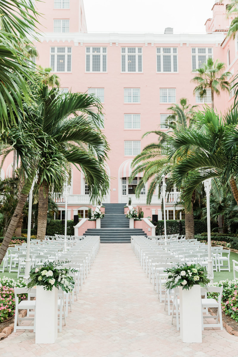 ceremony set up at Don Cesar wedding in St Petersburg Florida by Costola photography