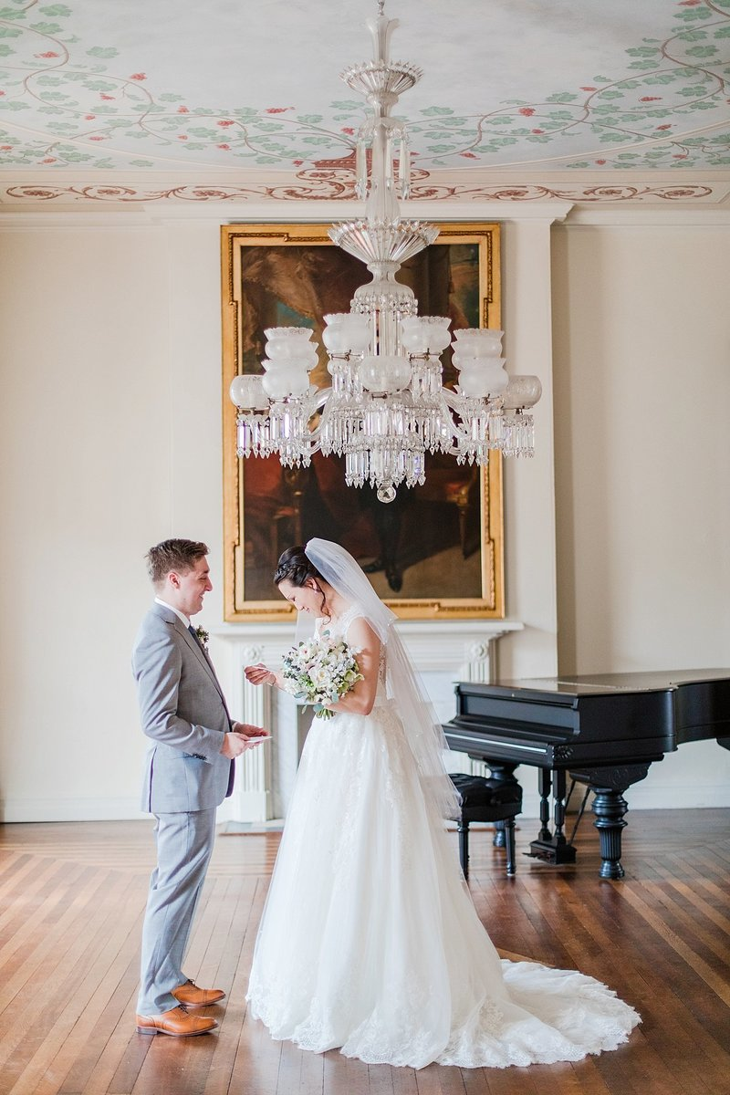 couple sharing first look at decatur house in washington dc by costola photography