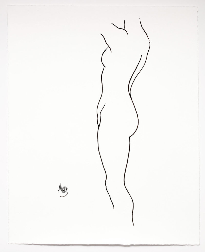 Original ink drawing of nude in profile on fine quality paper.