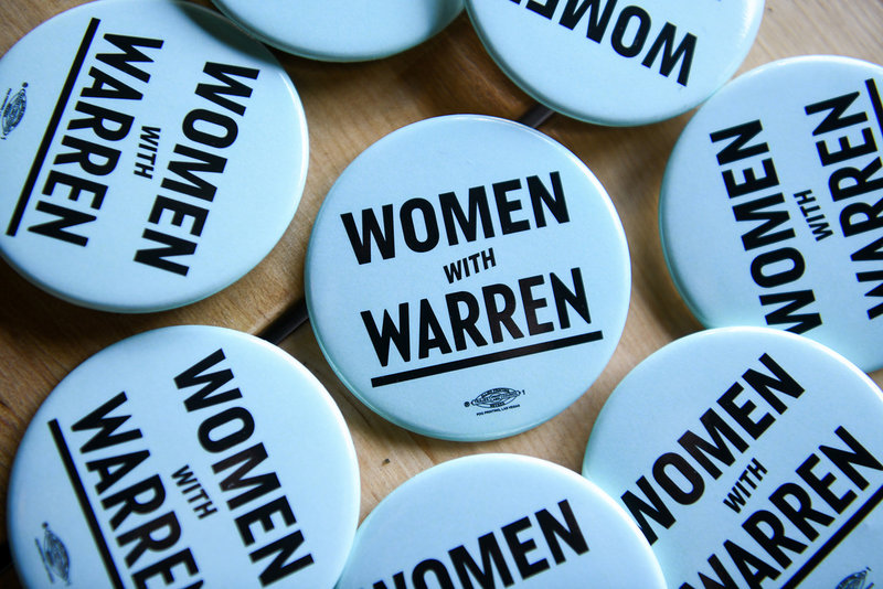 "Elizabeth Warren 2020 democratic presidential primary ""women for warren"" buttons"