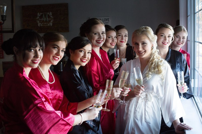 bridesmaids getting ready, brides maids toasting