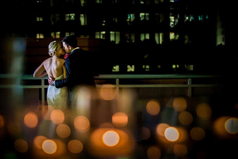 Romantic Uptown Charlotte Wedding with a romantic city skyline