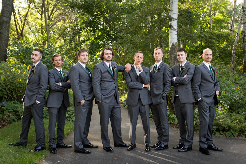 groomsmen at green bay botanical garden