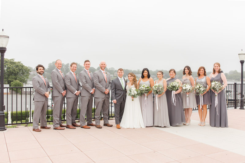 Bridal party in gray and green
