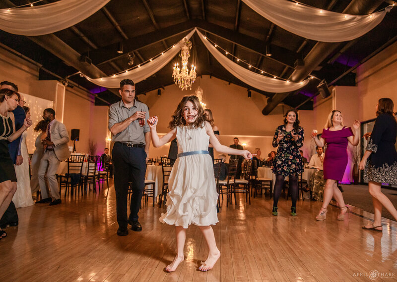Dancing at a wedding reception at Black Forest Wedgewood Weddings in Colorado Springs