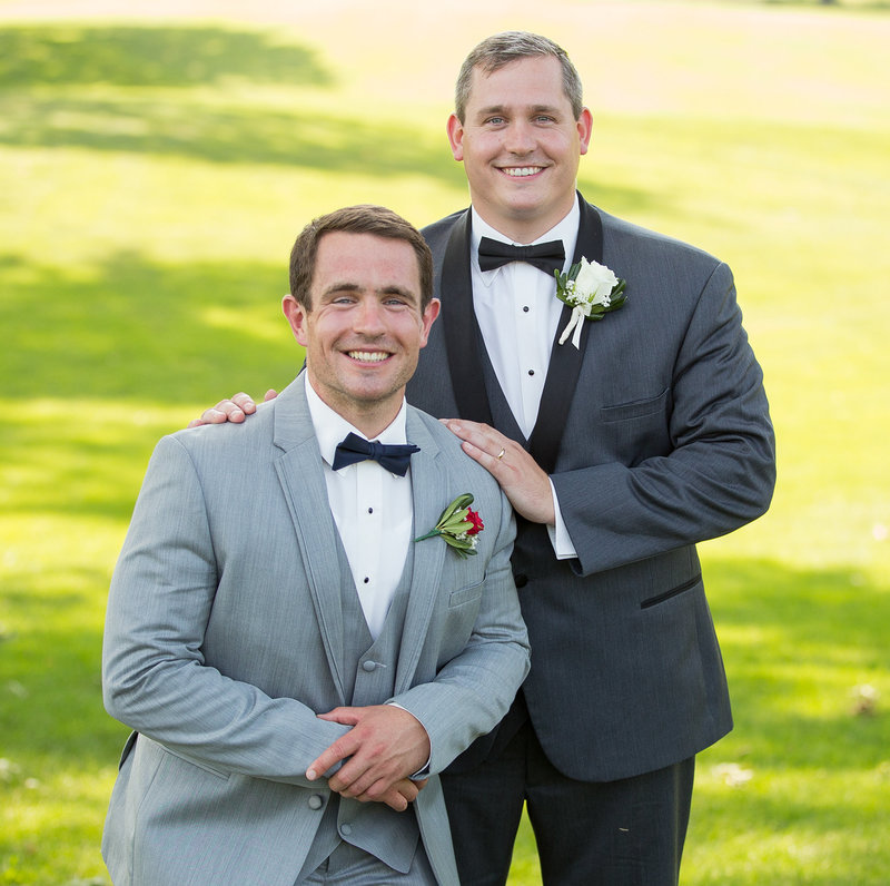 Groom and best man at Lawrence Park golf club