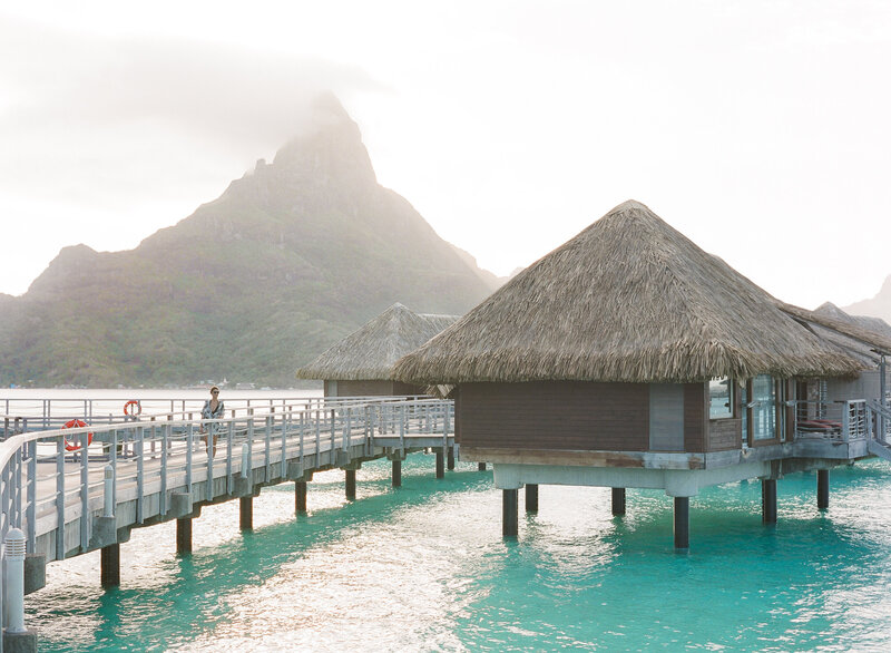 View lagoon overwater bungalow and mount otemanu in Bora Bora