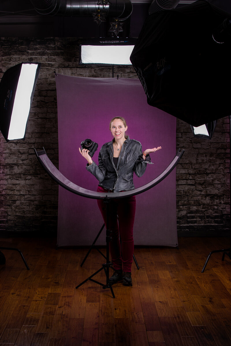 Behind the scenes on our headshot set at our Phoenixville Studio