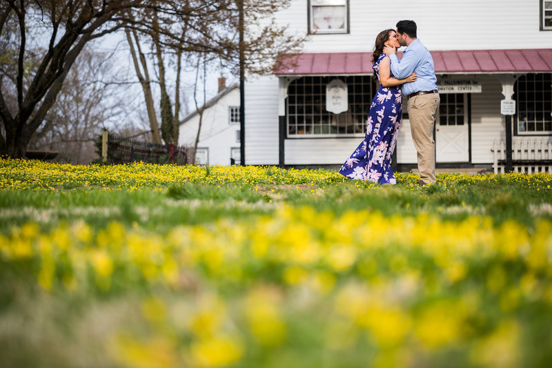 Couple kissing during engagement session in falsington bucks county