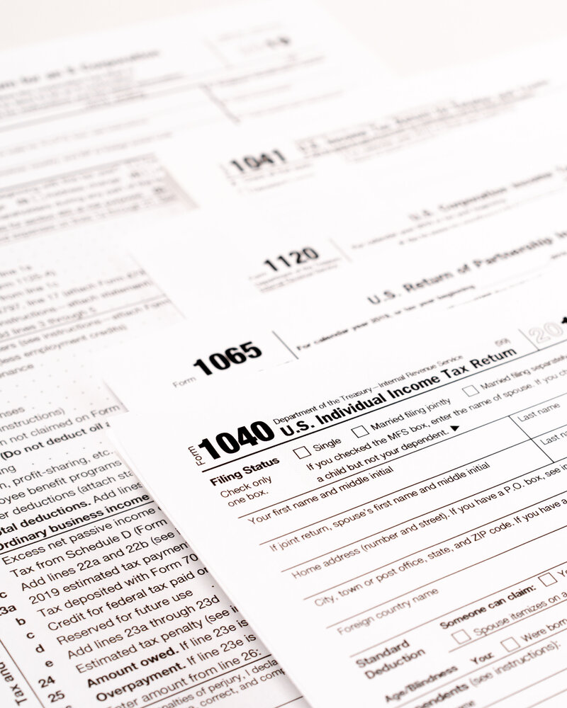 financial tax preparation and filing forms 1120, 1065, 1040