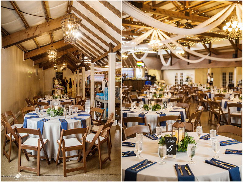 Church Ranch Event Center decorated with blue for a wedding reception indoors