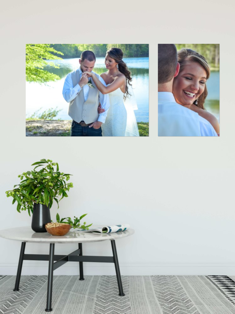 Wedding canvas gallery on the wall