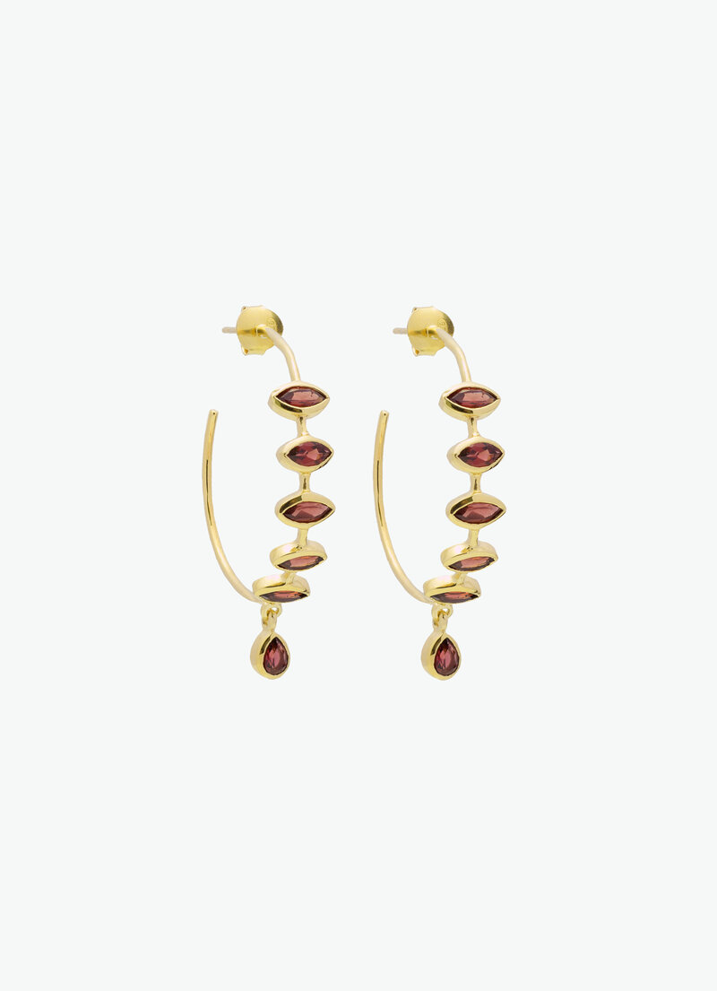 COVET HANDMADE_EMMA LARGE HOOPS_GARNET_GOLD