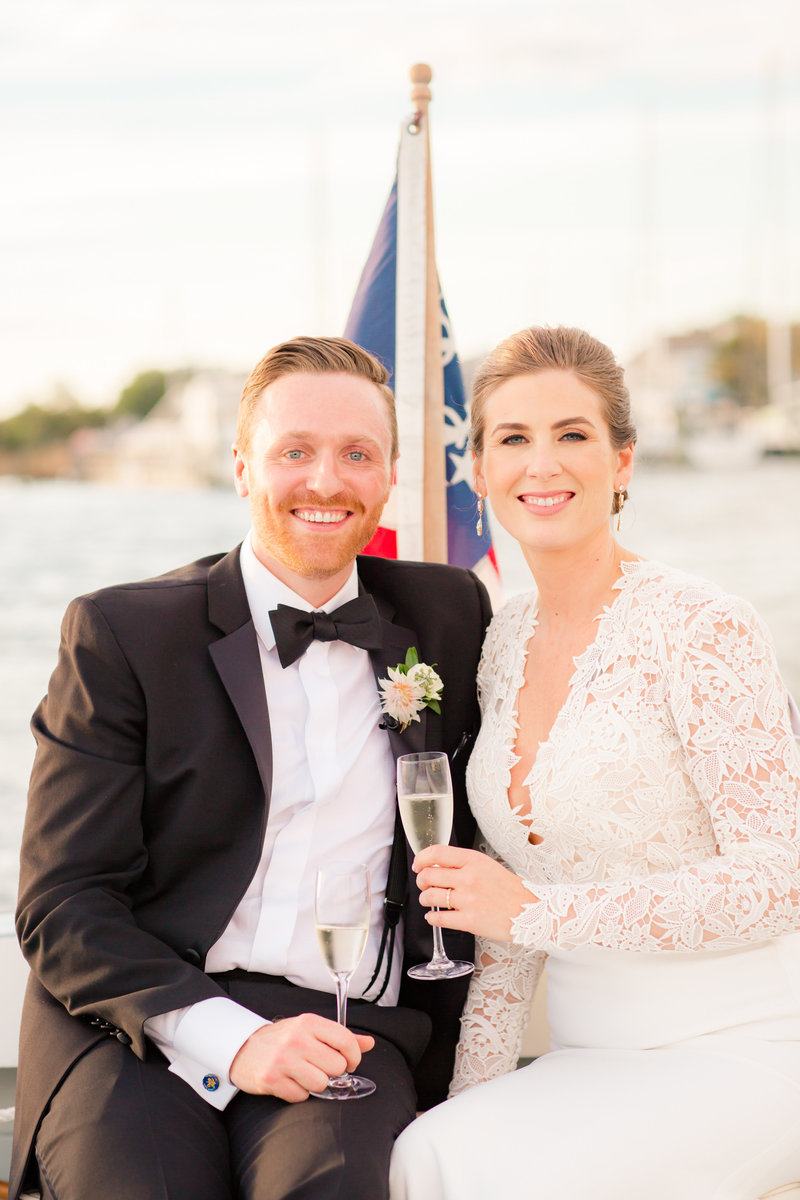 Bride and groom portrait on boat