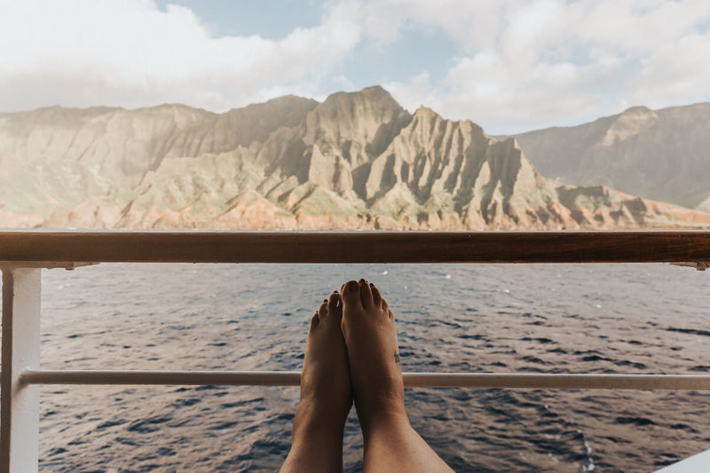 A view from a cruise ship in front of the Na Pali Coast in Kauai, HI