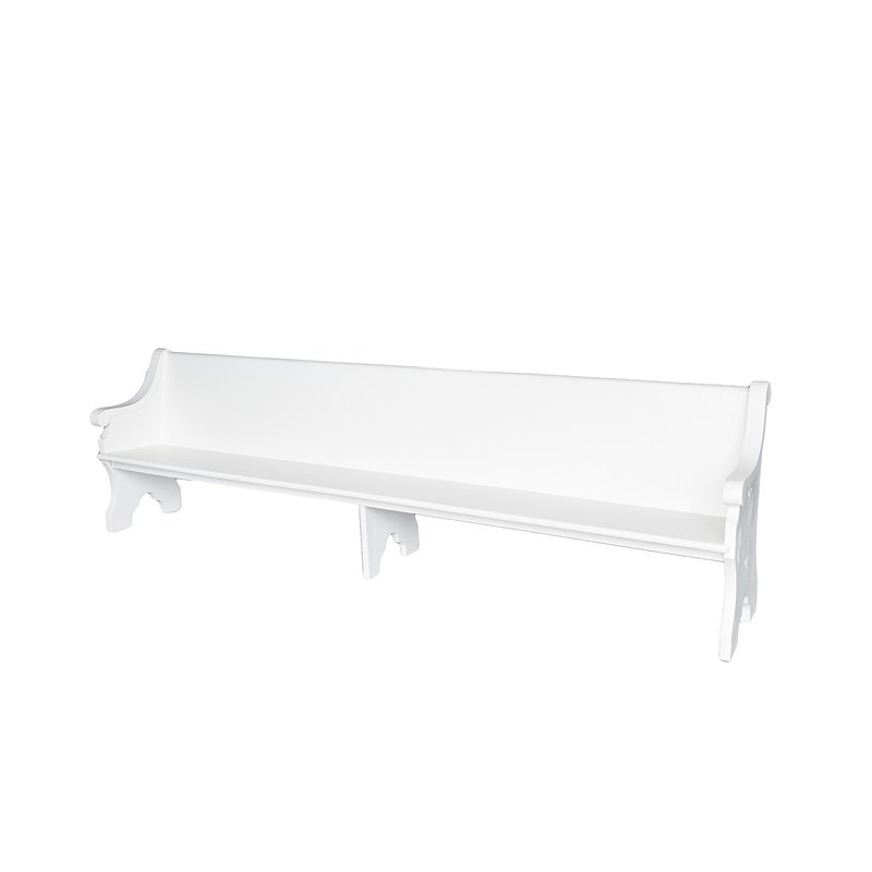 Wooden vintage church pews in white with ornate arms.